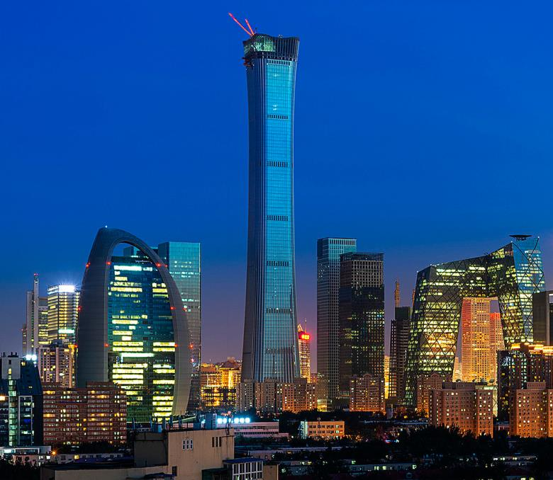 China Zun Tower during the night time