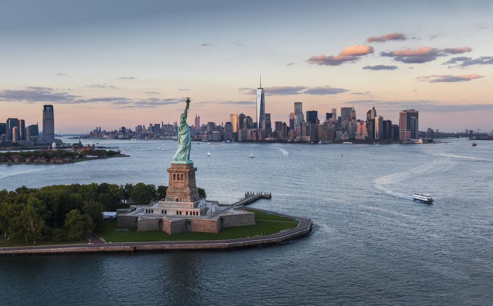Liberty Island with Manhattan in the background