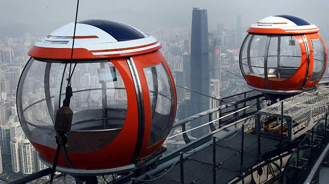 The passenger cars on Canton Tower