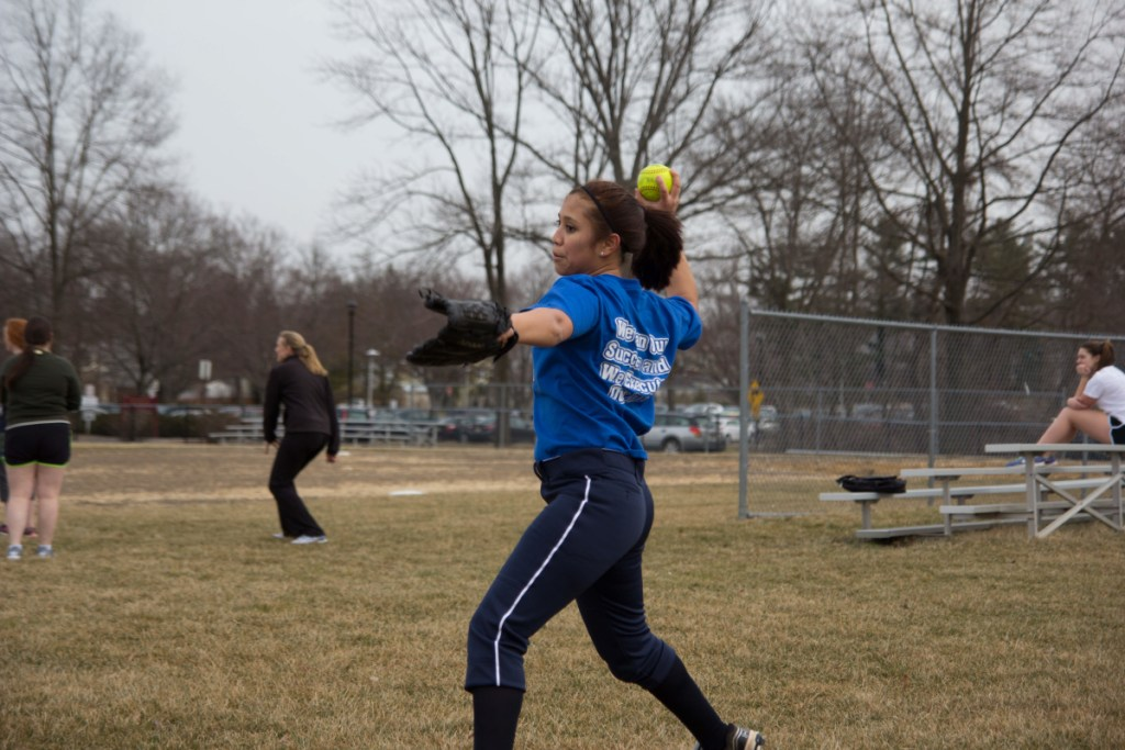 Kayla Volante '17 warms up at practice on the John Witherspoon Middle School field on March 15.  Photo: Nathan Drezner