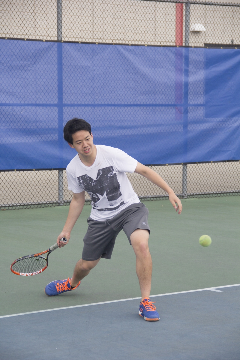 Andrew Lin '16 practices his ground stroke on April 14. photo: Caroline Smith