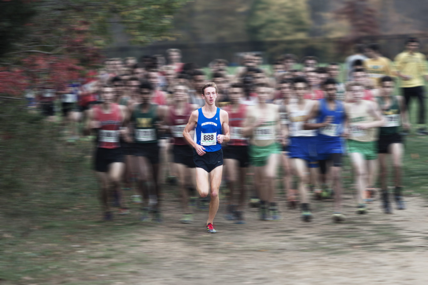 Alex Roth '17 leads the race at the NJSIAA Central Group IV sectional meet at Thompson Park on November 7. Photo Illustration: Nathan Drezner