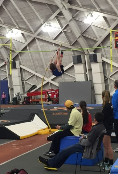 Nick Birnie '16 cleared a personal best 13 feet in the pole vault on Wednesday.
