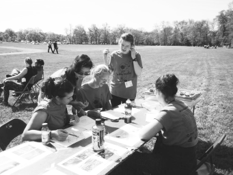 photo courtesy: Envirothon Members of the envirothon team, Auriane Benabou '16, Amy Lin '17, Will Parker '16, Marie Louise James '16, and Maggie Welch '16, converse at the competition.