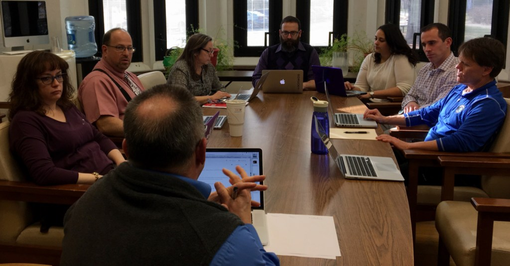 """photo by <span class=""""credit credit- """"><a href=""""/credit/""""Ceyda/"""" title=""""View all of this person's work"""">""""Ceyda</a></span> Members of the Bell Committee meet February 8 to discuss possible schedule changes."""