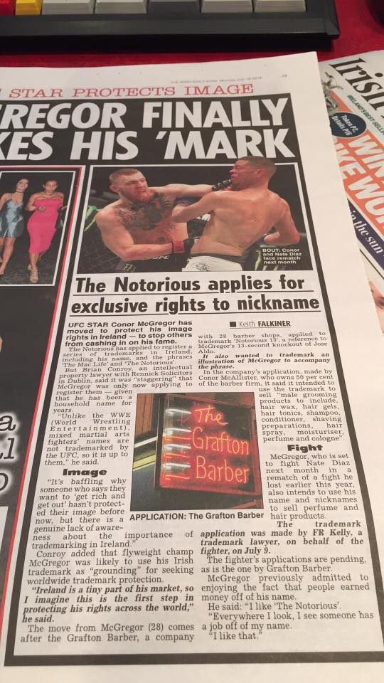Conor McGregor Trademarks Daily Star