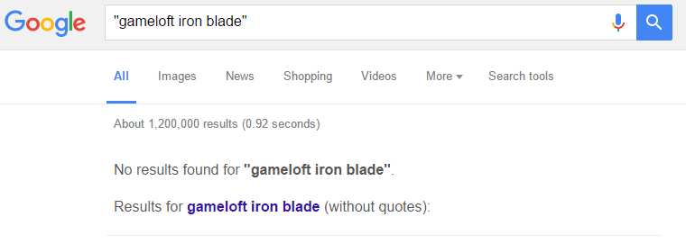 gameloft-iron-blade-google-results