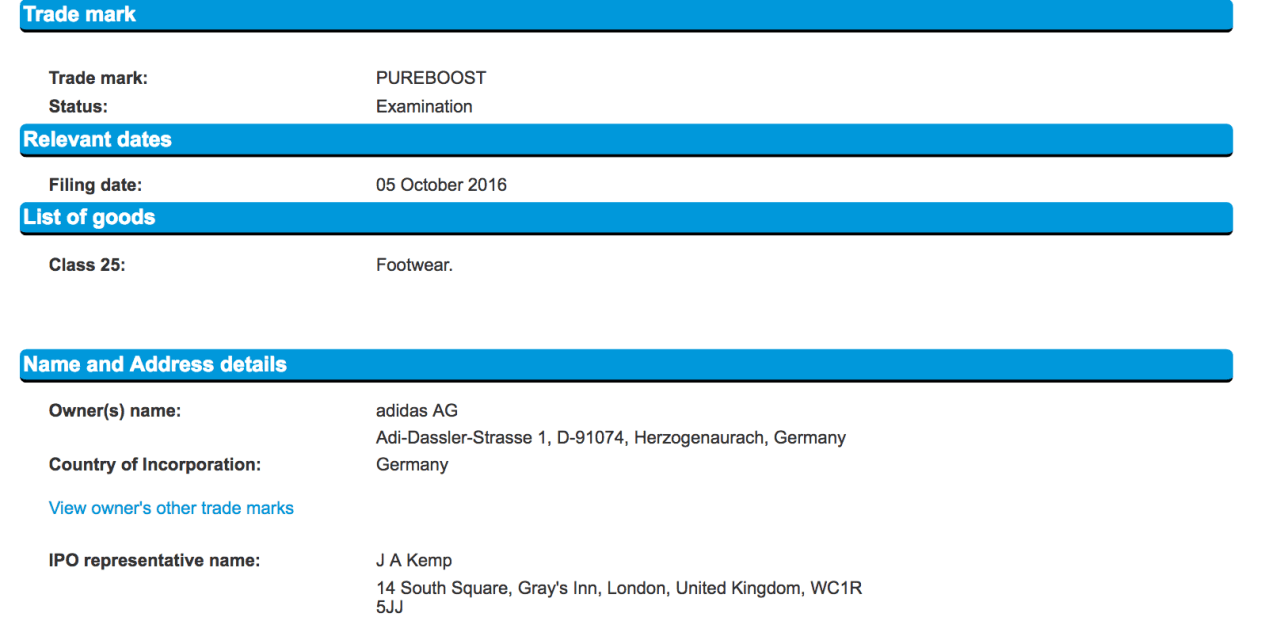 Adidas Pureboost Announced yesterday and trademark filed yesterday