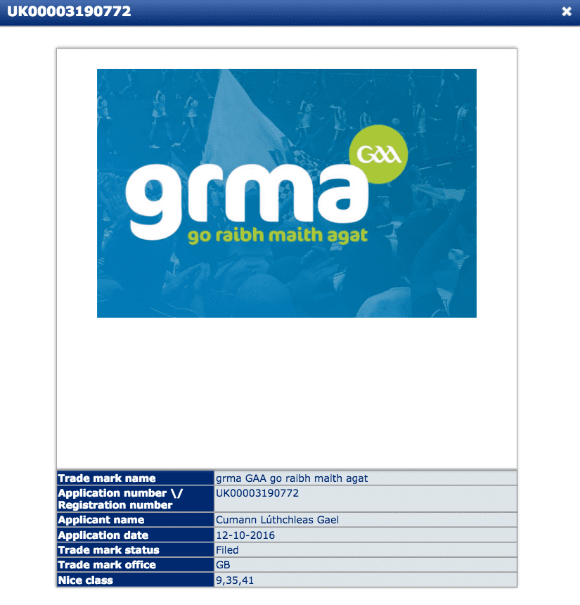 UK Trademark Application for GRMA