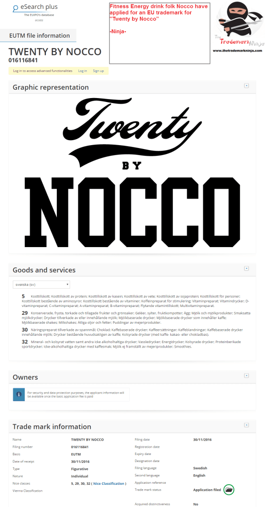Fitness drink maker <a href=http://twitter.com/nocco target=_blank rel=nofollow data-recalc-dims=1>@nocco</a> applies for trademark in the EU for TwentyByNocco