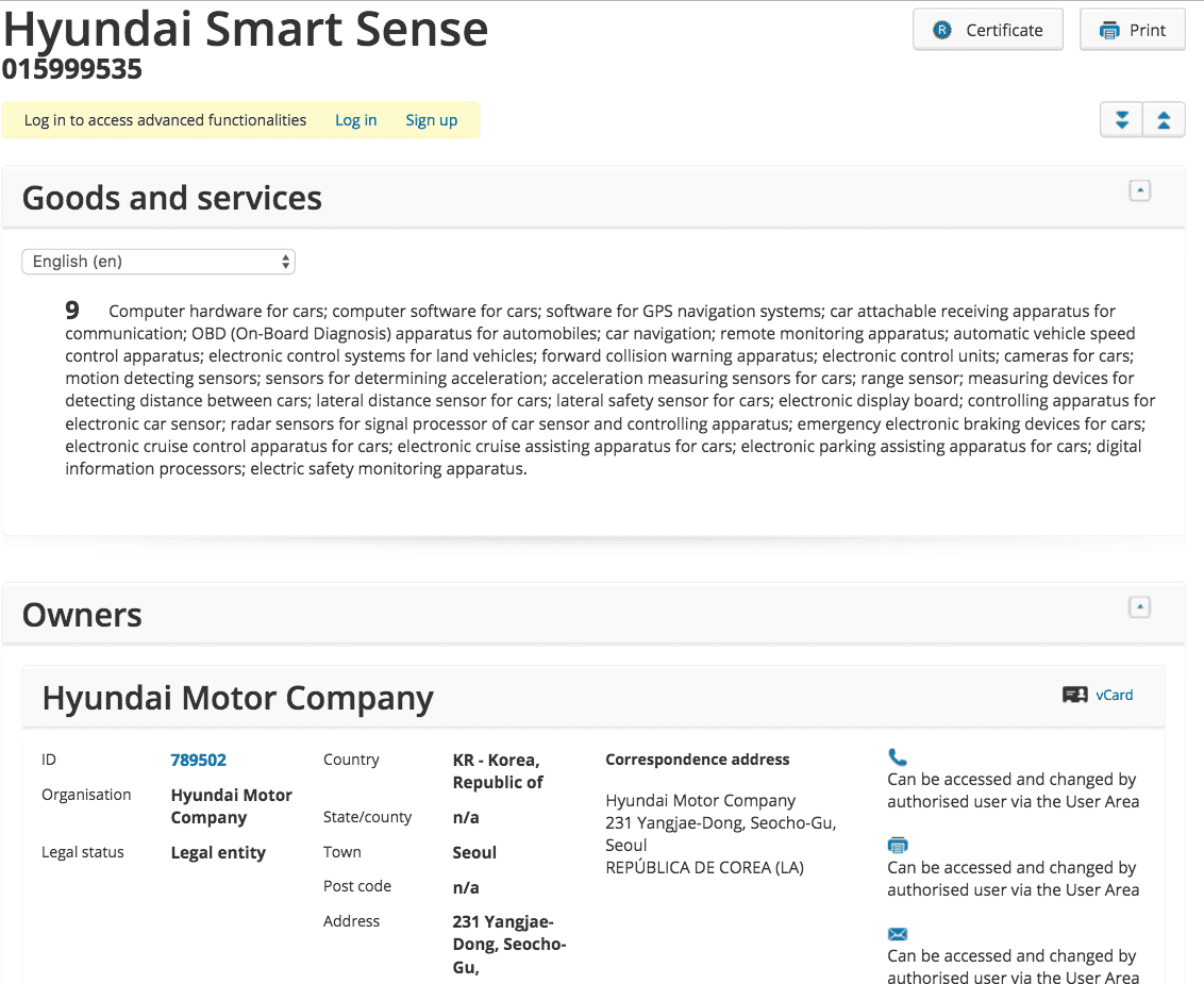 Hyundai Smart Sense Trademark Application In The Eu Hyundai Hyundai Smartsense