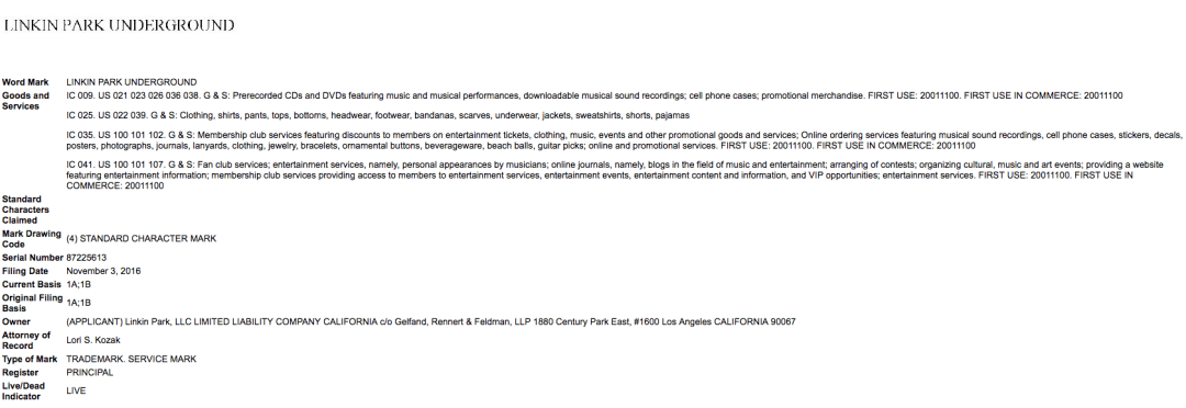 Linkin Park Apply For Linkinparkunderground Trademark Application In The Us Linkinpark Underground
