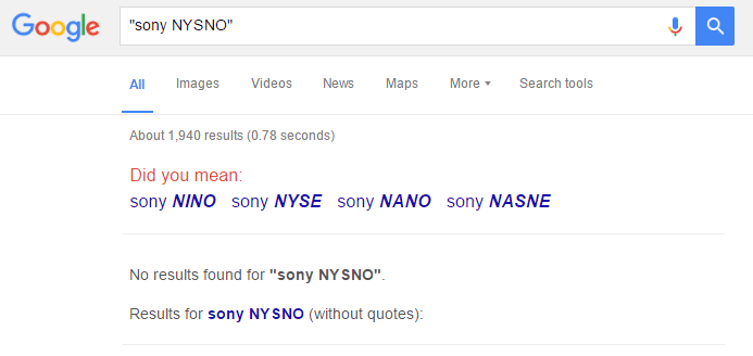 Sony NYSNO Trademark Application