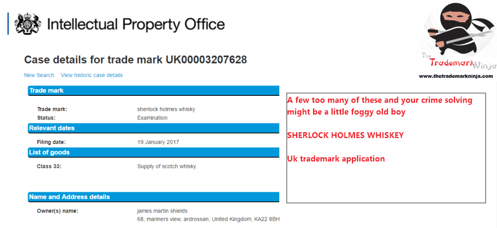 A UK trademark application has been filed with the UK Patents Office for Sherlock Holmes Whisky Whisky SherlockHolmes