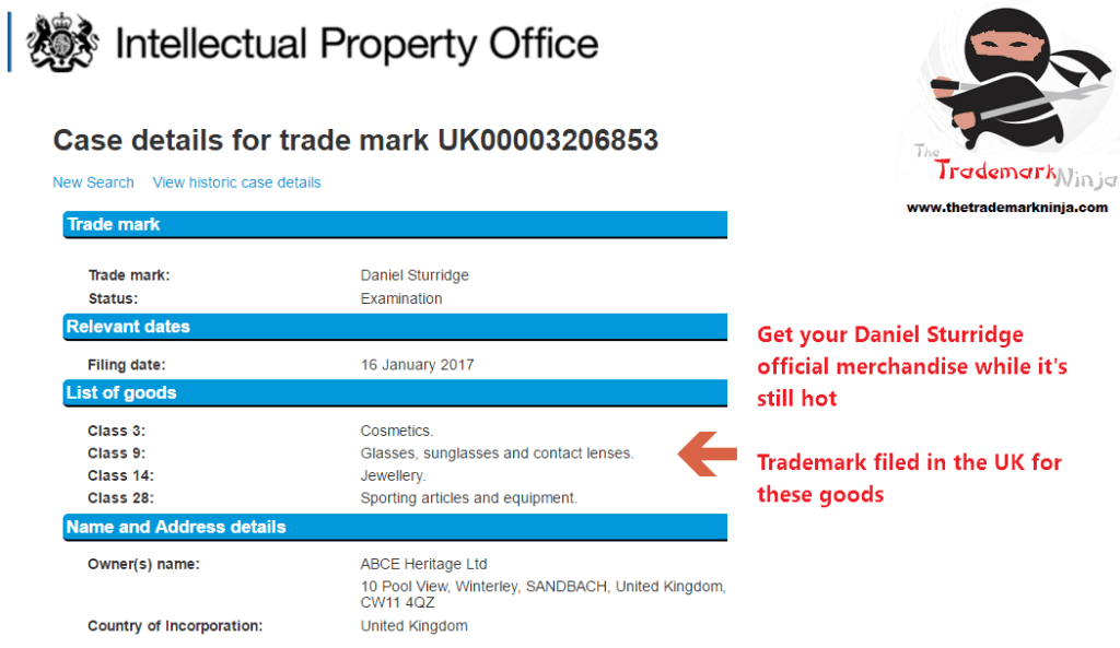 A UKTrademark application has been filed for DanielSturridge <a href=