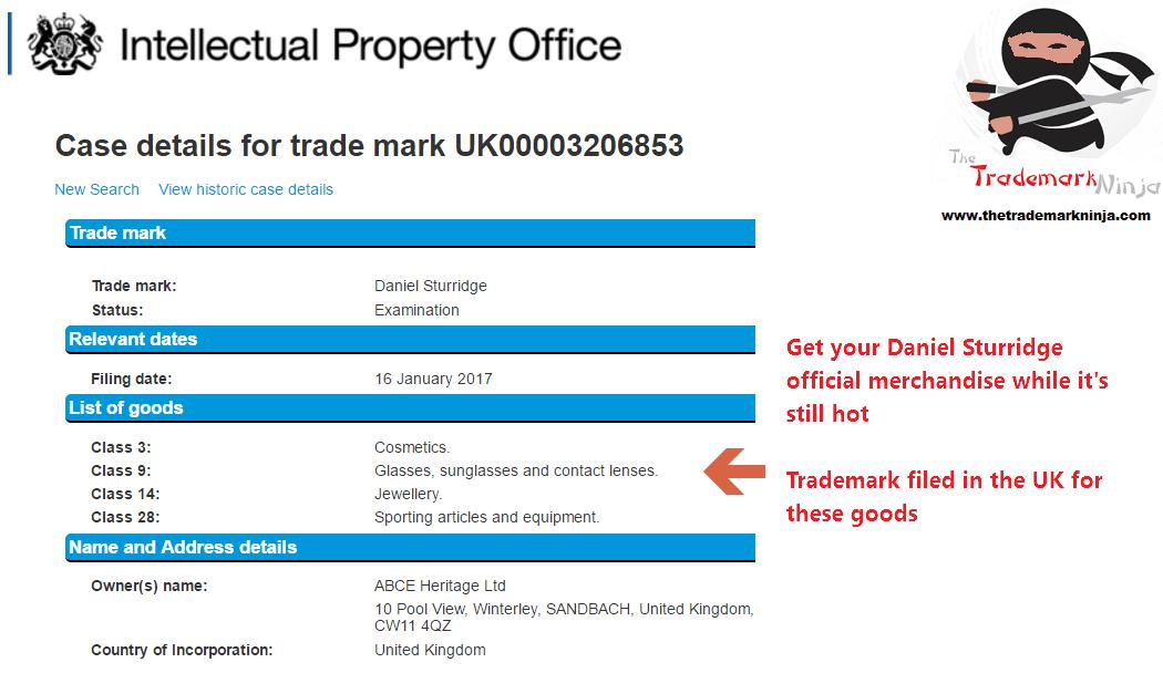 A UKTrademark application has been filed for DanielSturridge @DanielSturridge for cosmetics and other goods