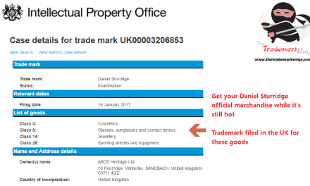 A UKTrademark application has been filed for DanielSturridge @DanielSturridge for cosmetics and other goods