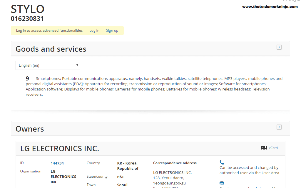 A trademark has been filed in the EU IPO for Stylo by @LG LG STYLO LGSTYLO