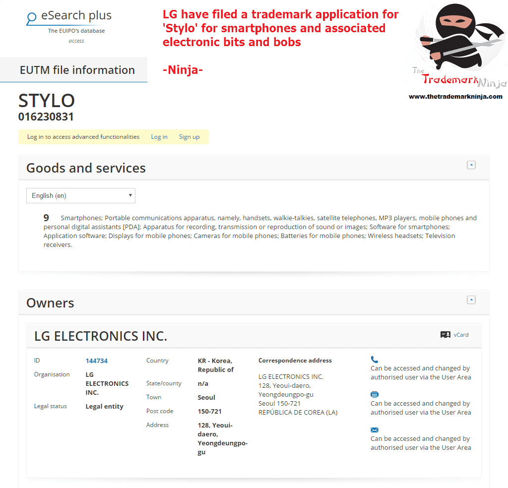 A trademark has been filed in the EU IPO for Stylo by <a href=
