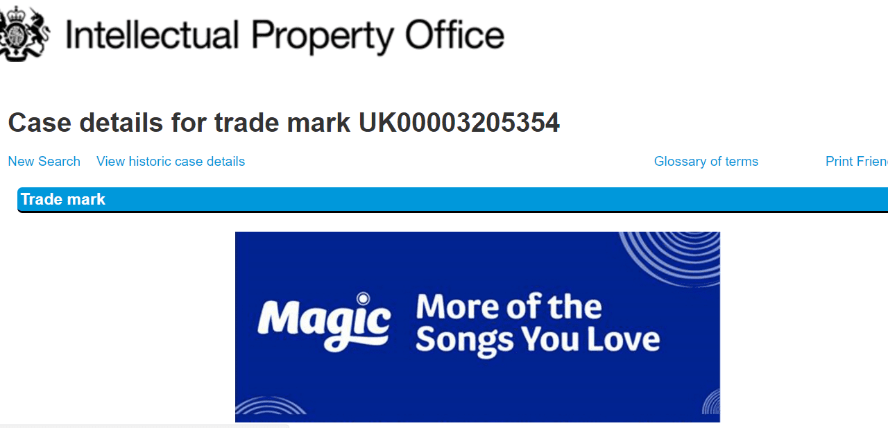 Bauer Radio in the UK applies for this logo for its Magic brand @Magic Bauer