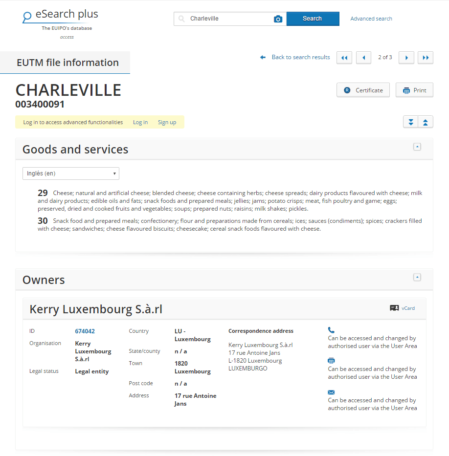 Charleville Trademark Application