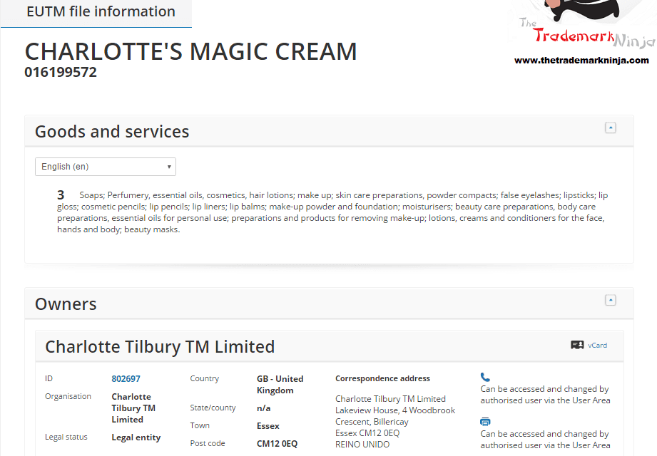 Charlotte Tilbury has applied for an EU Trademark for Charlottes Magic Cream @Tilbury CharlotteTilbury