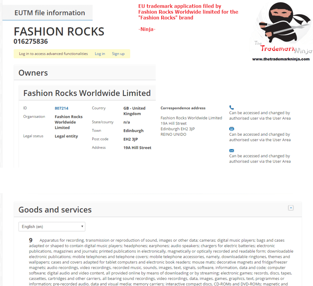 EU Trademark Applications FashionRocks trademark application filed in EU on 23 Feb 2017