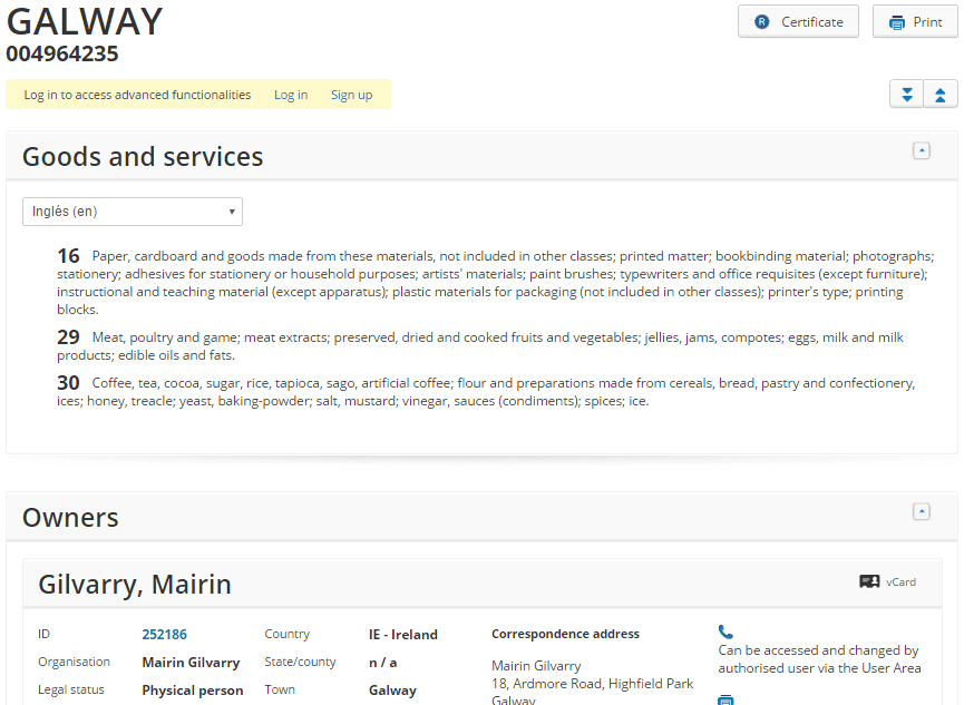 Galway European Trademark Application
