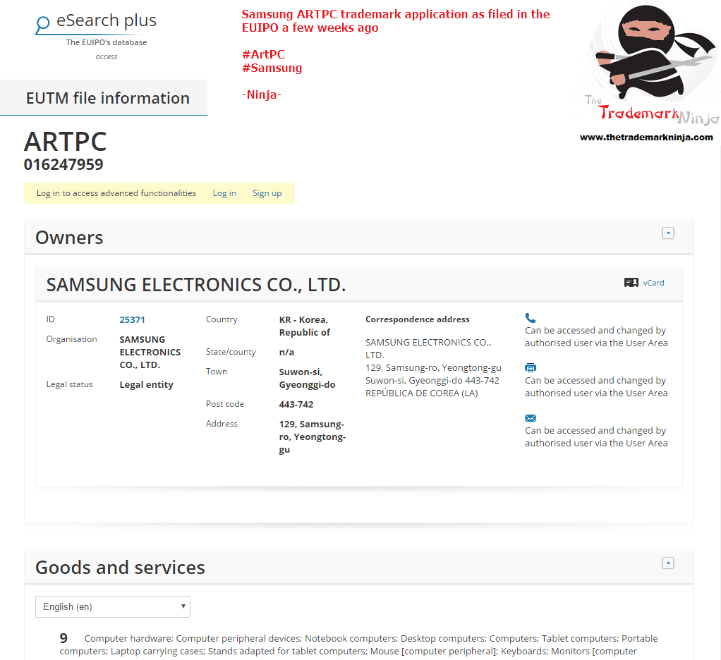Heres the EU Trademark application for <a href=http://twitter.com/Samsungs target=_blank rel=nofollow data-recalc-dims=1>@Samsungs</a> ARTPC Samsung