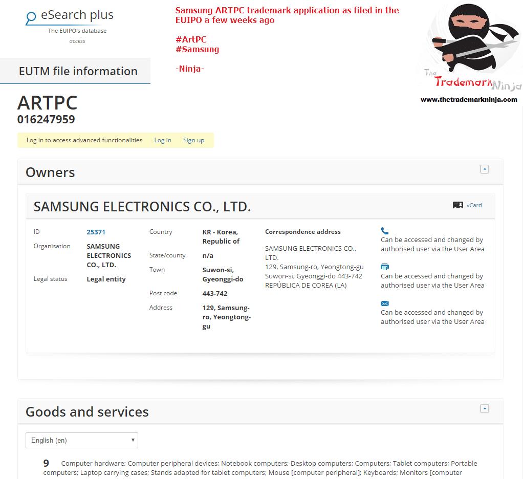 Heres the EU Trademark application for <a href=