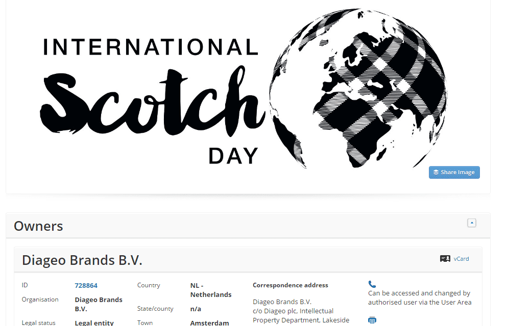 One of three trademarks filed by @diageo last week for InternationalScotchDay ScotchDay Scotch