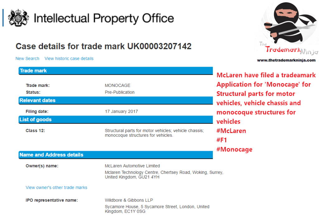 So <a href=http://twitter.com/McLaren target=_blank rel=nofollow data-recalc-dims=1>@McLaren</a> have lodged a UK trademark application for Monocage for Monocoque structures for vehicles McLaren