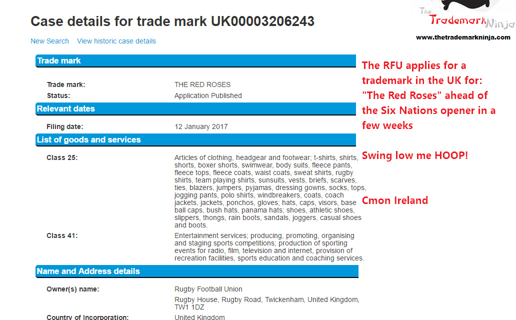 The @RFU filed a trademark for TheRedRoses