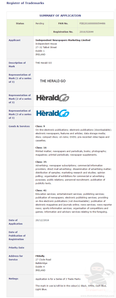 The Herald Go trademark application lodged on 20 December 2016 <a href=