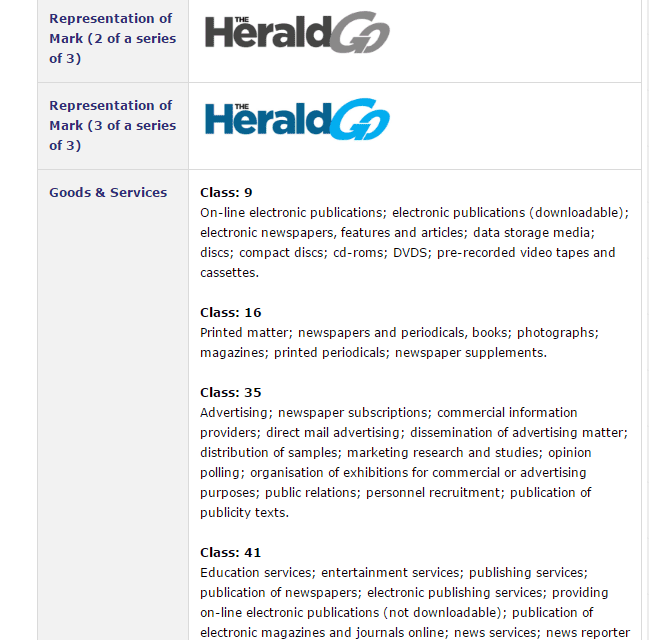 The Herald Go trademark application lodged on 20 December 2016 @HeraldNewsDesk TheHerald 2