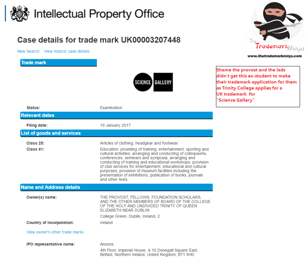 Trademark UK Application made by <a href=http://twitter.com/TCD target=_blank rel=nofollow data-recalc-dims=1>@TCD</a> for <a href=http://twitter.com/sciencegallery target=_blank rel=nofollow>@sciencegallery</a> in the UK ScienceGallery Trinners