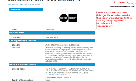Trademark UK Application made by @TCD for @sciencegallery in the UK ScienceGallery Trinners