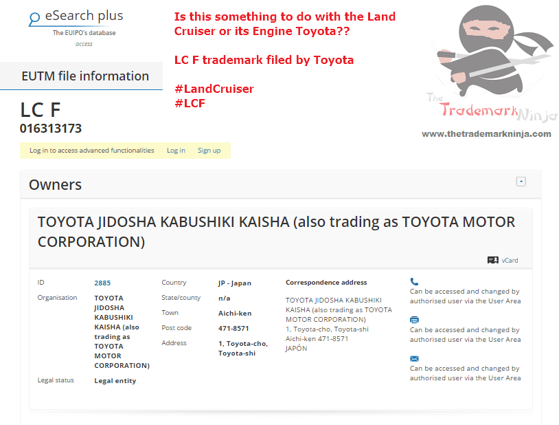 A trademark application for LCF have been filed with the EUIPO by <a href=http://twitter.com/Toyota target=_blank rel=nofollow data-recalc-dims=1>@Toyota</a> Toyota