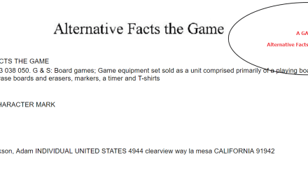 Alternative Facts The Game Trademark Application AlternativeFacts Game Trump
