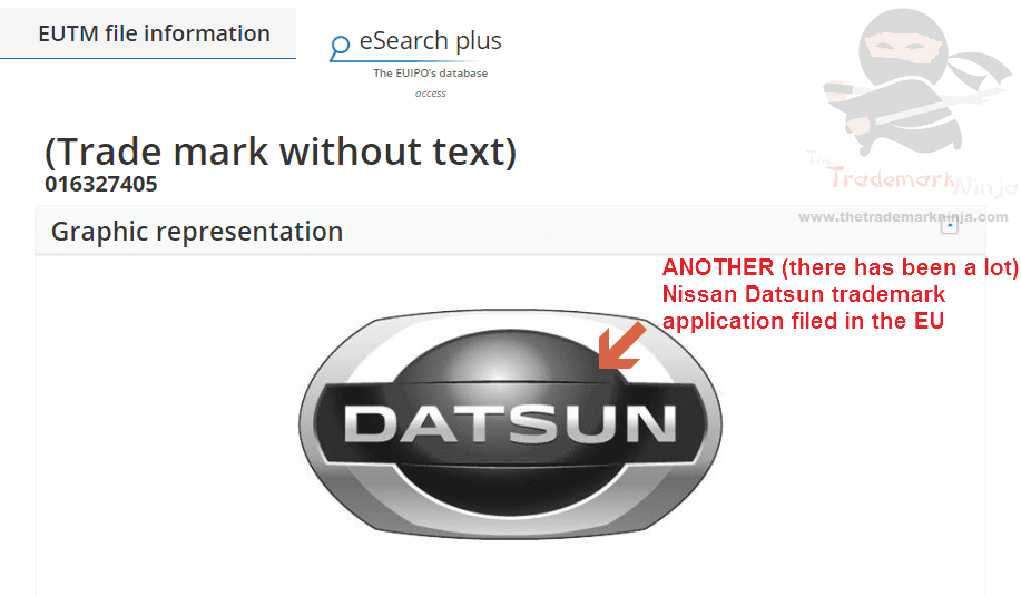 Another EU Trademark application for the <a href=http://twitter.com/Nissan target=_blank rel=nofollow data-recalc-dims=1>@Nissan</a> <a href=http://twitter.com/Datsun target=_blank rel=nofollow>@Datsun</a> Nissan Datsun NissanDatsun