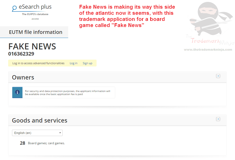 Another FakeNews trademark application there have been lots in the US this time in the EU Trademark