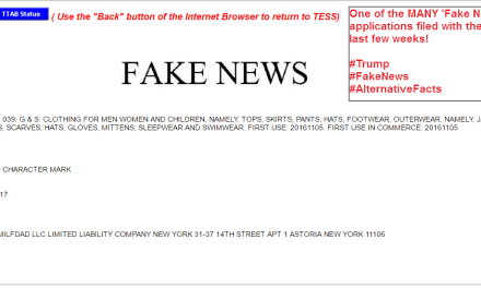 Another US Trademark for FakeNews filed in the US this week FakeNews Trump Trademark