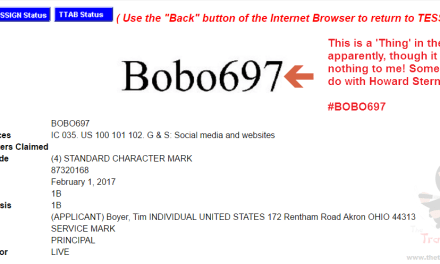 BOBO697 Trademark Application Bobo697 @bob697 @howardstern