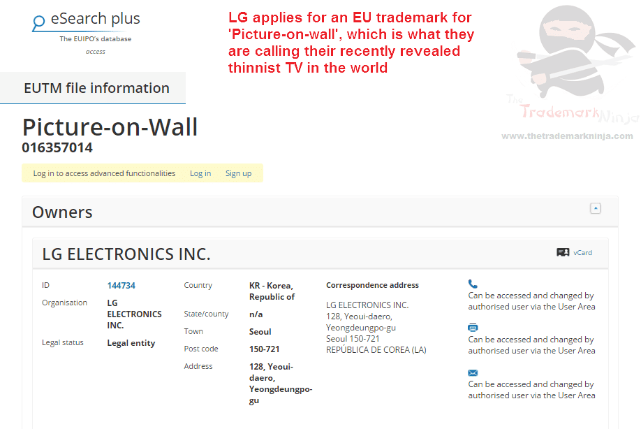 EU Trademark application filed by LG for PictureOnWall LG @LG