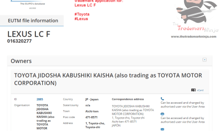 EU trademark application for @Lexus LC F Lexus LCF