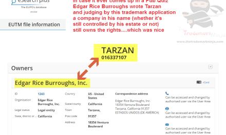 EU trademark application for Tarzan TarzanAndJane KingOfThe Jungle EdgarRiceBurroughs