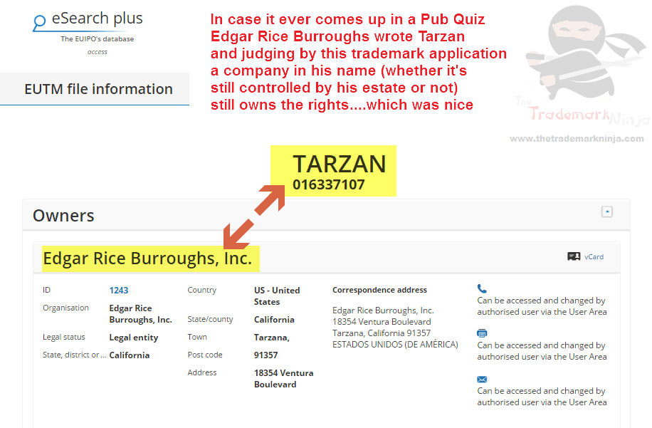 EU trademark application for Tarzan TarzanAndJane KingOfThe Jungle EdgarRiceBurroughs