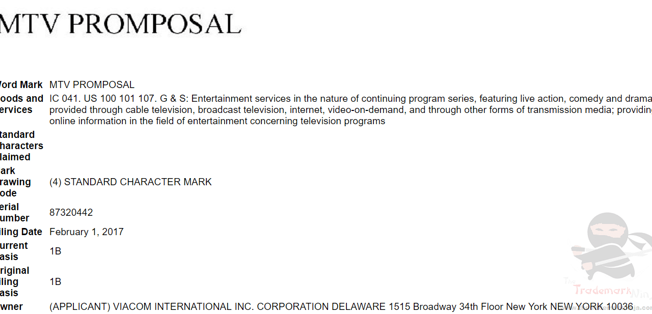 MTV Promprosal Tradmark Application USPTO Trademark PromProsal