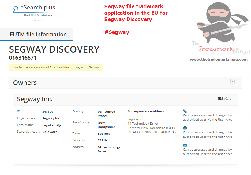Segway file an EU trademark forSegwayDiscovery @Segway Segway