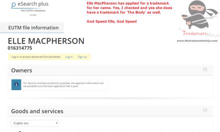 Superstar Model Elle MacPherson has applied for an EU trademark for ElleMacPherson